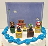 "Super Mario Brothers Game Scene Birthay Cake Topper Featuring 2"" Figures of Mario, Luigi, Mushroom, Goomba, Koopa Troopa and Decorative Themed Pieces"