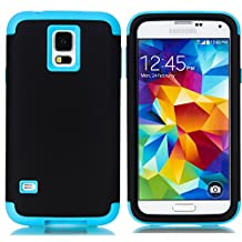 Galaxy S5 Case,LUOLNH 3-Piece High Impact Hybrid Defender Case For Samsung Galaxy S5 i9600 (not fit Galaxy S5 mini 2014)(Black+Blue)