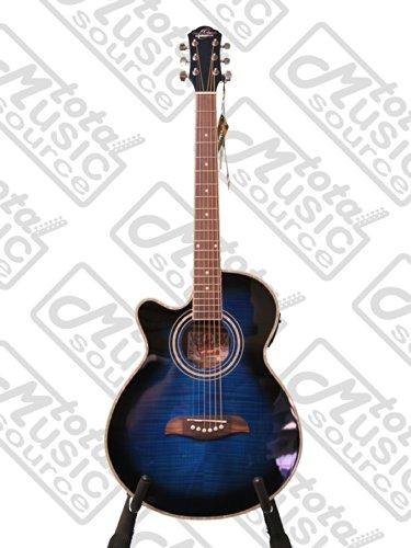 Oscar Schmidt OG10CEFTBLLH Concert Size Acoustic Electric LEFT HAND Guitar, Flame Trans Blue
