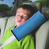 autolover los niños coche cinturones de seguridad hombro Protección Dormir Almohada Vehículo Reposacabezas de espalda Cojín Suave Cuello Arnés Pad (Azul)