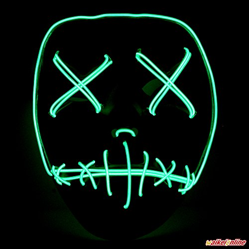 WAIKEI Frightening EL Wire Halloween Cosplay Led Mask Light Up Mask for Festival Parties
