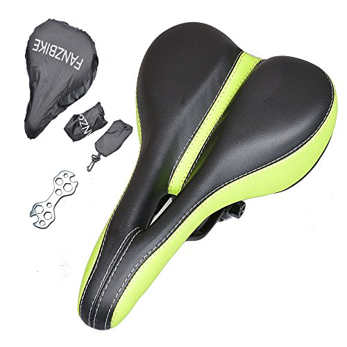 Cushion Gel Bicycle Bike Seat for Men - Comfortable Bike Saddle - Comfort for Road Racing,Mountain bike,Touring,Commuting,Triathlon,Indoor Cycling(Green)