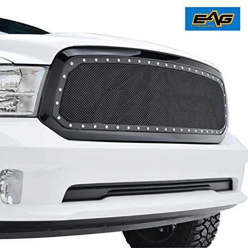 EAG 2013-2018 Dodge Ram 1500 Rivet Stainless Steel Wire Mesh Grille W/Shell
