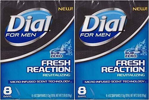Dial for Men Fresh Reaction, Sub Zero Glycerin Bar Soap, 4 Oz Bars, 8 Ct. 2 pack