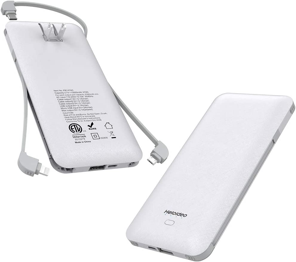 Heloideo 10000mAh Portable Charger Compact Power Bank External Battery White