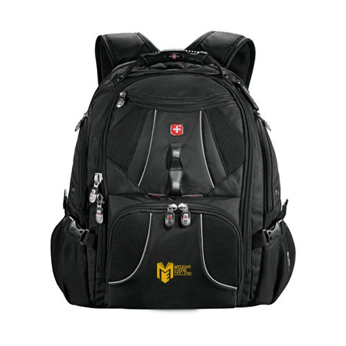 Medgar Evers Wenger Swiss Army Mega Black Compu Backpack 'Official Logo' by CollegeFanGear