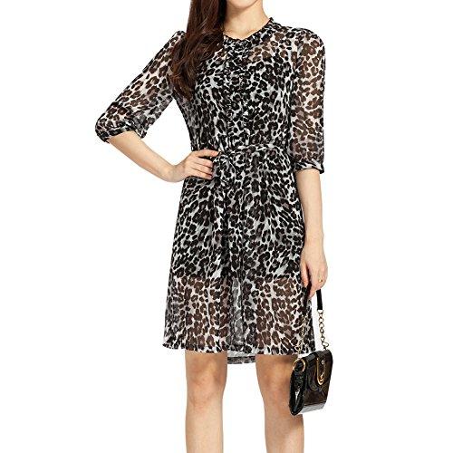Elliscold Above Knee Dress, Women's Half Sleeve Midi A-line Leopard Print Chiffon Casual Work Shirt Dress with Belt,Black Leopard (Chiffon Leopard Belt)