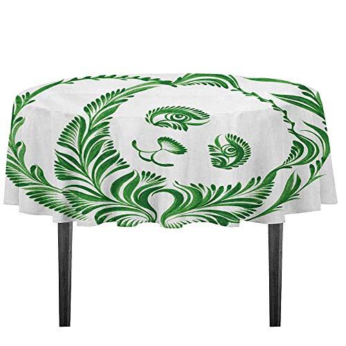 (kangkaishi Modern Leakproof Polyester Tablecloth Ukrainian Folk Art Ceramic Tile Inspired Panda Bear Featured Foliage Illustration Outdoor and Indoor use D55.11 Inch Hunter Green)