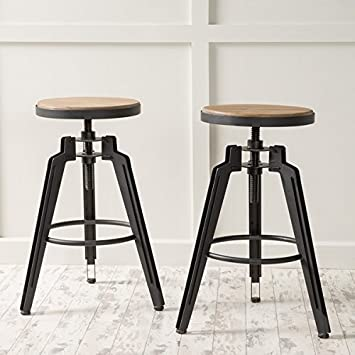Bar Stools Isla Rustic Wood Height Adjustable Bar Stools Set of 2 - 24.50 in High & Amazon.com: Bar Stools Isla Rustic Wood Height Adjustable Bar ... islam-shia.org