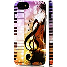 GoldSwift Cute Cartoon Flexible Soft Rubber Gel Case for iPhone 8, iPhone 7, iPhone 6S and iPhone 6 (Piano Guitar Music)
