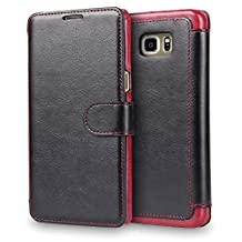 S6 Edge case, Galaxy S6 Edge Case Wallet,Tisuns [Layered Dandy] - [Wallet Case] Take card with clip holster - Leather Flip Cover With Credit Card Slot for Samsung Galaxy S6 Edge / G9250 - Black