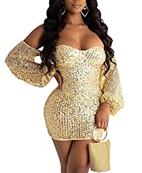Gold Sequin Mini Dress - Off Shoulder Long Sleeve V Neck