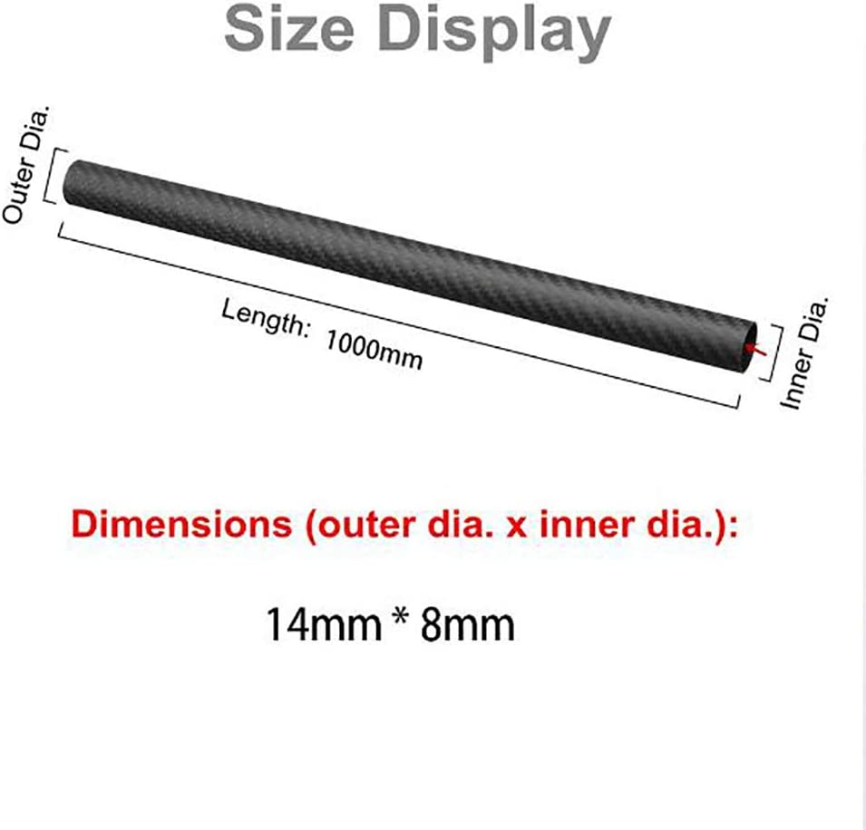 SOOKi 3K Matte Surface Plain Weave Carbon Fiber Tube 14x8x1000mm,14x8x1000mm,3pcs