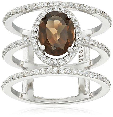 Sterling Silver Smokey Quartz Gem Ring Smokey Quartz Ladies Ring