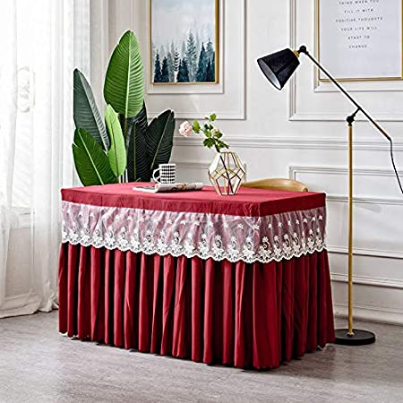 Comfot Rectangular Pleated Mesh Lace Table Skirt Hotel Tablecloth Birthday Party Wedding Table Decoration(120×60×75CM),002,120x60x75