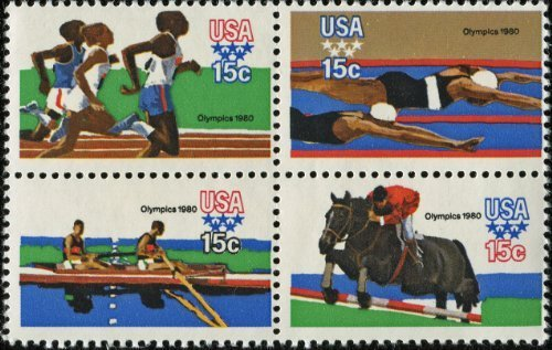 1980 SUMMER OLYMPIC GAMES '80 ~ MOSCOW ~ EQUESTRIAN ~ ROWING ~ RUNNING ~ SWIMMING #1794a Block of 4 x 15 cents US Postage Stamps by USPS
