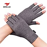 Banillue Compression Arthritis Gloves, Fingerless Hand Gloves for Rheumatoid & Osteoarthritis - Joint Pain and Carpel Tunnel Relief-Men & Women-Large