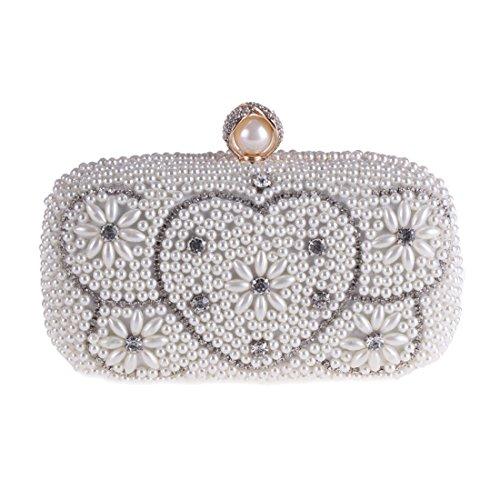 Cuadrada de corazn Perlas Forma Bolso Banquete de Color Banquete Noche de Bolso Silver en Champagne Bolso Bolsa de YY1 de pequea PqvYxwpaW4