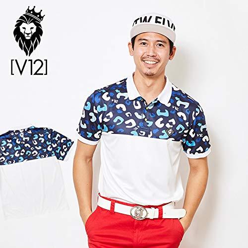 [ヴィトゥエルヴ] 2019 メンズ ハーフ レオパード柄 半袖ポロシャツ V121910-CT22 75/Blue 19SS ゴルフウェア M  B07QSV7W98