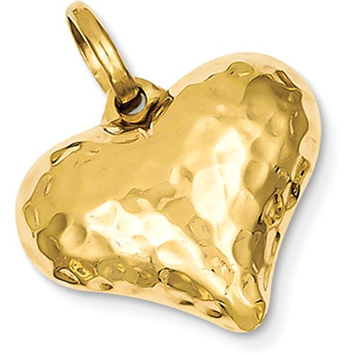 Puffed Heart Hammered Gold (14k Gold Hollow Hammered Puffed Heart Pendant - (Yellow Gold, 0.88 Inch Height))