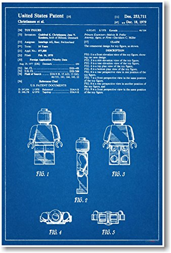 Lego Figure Patent - NEW Famous Invention Blueprint Poster