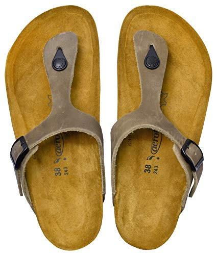 AEROTHOTIC - Genuine Suede Leather and Cork Footbed Sandals for Women (US-Women-9, Eos Grey)