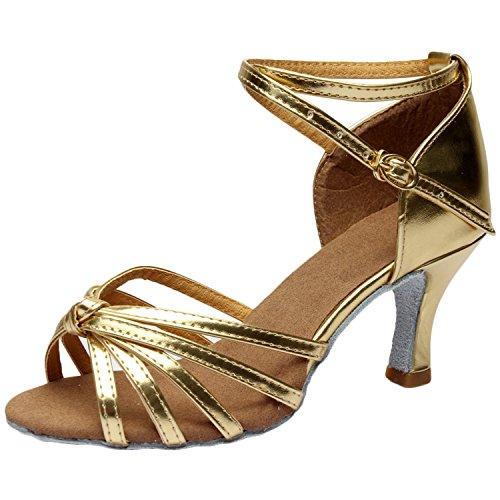 Azbro Mujer Moda Zapato de Baile Latín de Tacón Alto Correa Cruzada Puntera Abierta Dorado