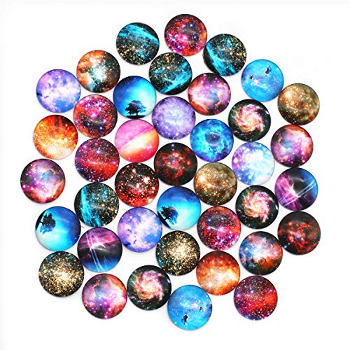 ZHU YU CHUN 40 Pcs 25mm Glass Dome Cabochons Half Round Flatback Cosmic Sky
