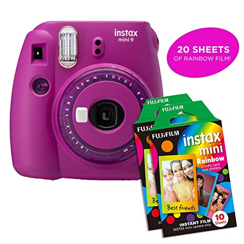 Fujifilm Instax Mini 9 Instant Camera Includes 2 Rainbow Film Packs (20 Photo Sheets Total) | Selfie Mirror, Auto Lens & Light Exposure Setting (Purple)