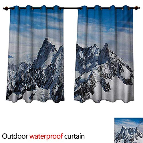 (WilliamsDecor Landscape Home Patio Outdoor Curtain Picturesque Mont Blanc Cliff to Clouds Idyllic Environment Trekking Landmark W108 x L72(274cm x 183cm) )