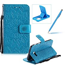 Wallet Case for Samsung Galaxy A5 2017 A520,Strap Flip Case for Samsung Galaxy A5 2017 A520,Herzzer Retro Elegant [Blue Mandala Flower Pattern] Stand Function Magnetic Smart Leather Case with Soft Inner for Samsung Galaxy A5 2017 A520 + 1 x Free Blue Cellphone Kickstand + 1 x Free Blue Stylus Pen