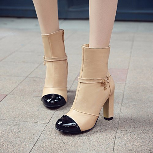 Autumn and winter color high-heeled shoes size boots boots Apricot (Terry) wet2Yq