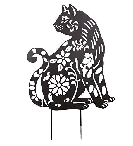 Animal Silhouette Cat Feline Garden Stake Laser Cut Black Iron Metal Outdoor Yard Garden Decor 18 W x 30.5 H x .5 D