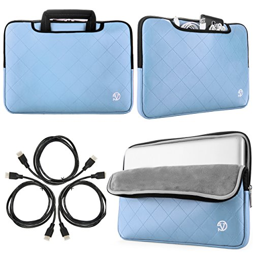 New Gummy Sleeve Briefcase for Lenovo IdeaPad 300  300S  500  Y700 14 15.6 in Laptops + Sumaclife 3 pack 6' HDMI Cable (Light Blue)