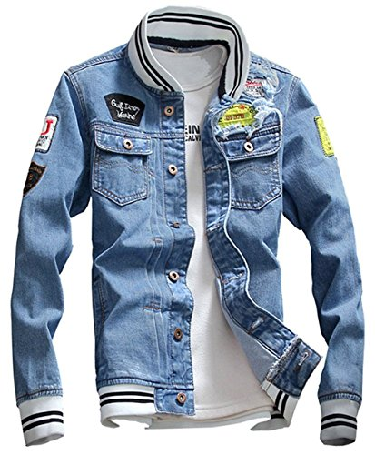 KAMUON Men's Denim Jacket Casual Slim Fit Jean Collage Varsity Baseball Jacket (US L = Asian Tag 5XL : Bust 48.0