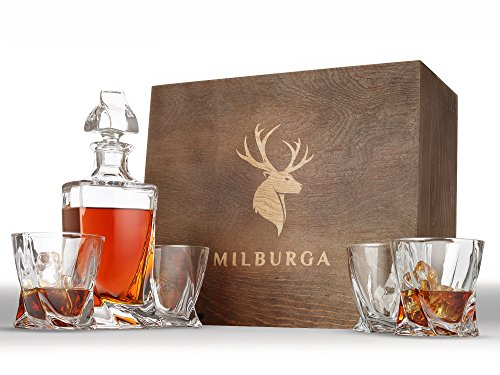 Lead Set Crystal Free (Elegant 5-Piece Whiskey Decanter Set in Balanced and Hand Crafted Wooden Box – Lead-Free Crystal Bourbon, Scotch and Liquor Decanter with Twist Glasses – Dishwasher Safe, Regal Gift Set by Milburga)