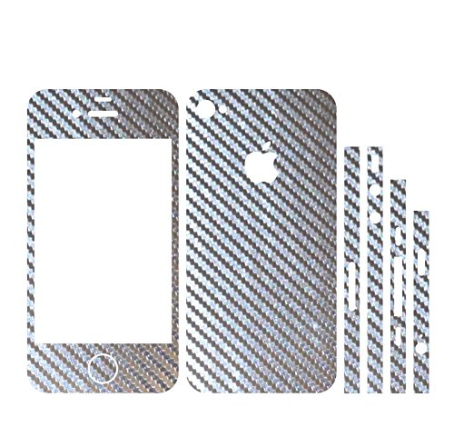 IPHONE 4S 2D SILBER CHROM CARBON FOLIE SKIN ZUM AUFKLEBEN bumper case cover schutzhülle i phone