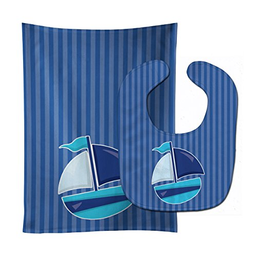 - Caroline's Treasures Nautical Sailboat No. 2 Baby Bib & Burp Cloth, Multicolor, Large