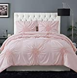 Christian Siriano Georgia Rouched Duvet Set Queen and Full, Blush