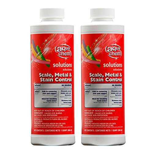 Aqua Chem 05327AQU-02 Scale Metal and Stain Control for Swimming Pools (2 Pack), 1 Quart ()