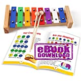 Mini Xylophone for Kids 8 Note - E-book 15 Color-Coded Songs just for this baby Xylophone Toy