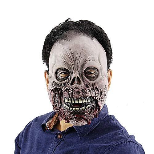 (Wetietir Festival Mask Halloween Rotten Zombie Horror Skull Mask Scary Haunted House Room Escape to Dress Up Latex Hood mask Costume)