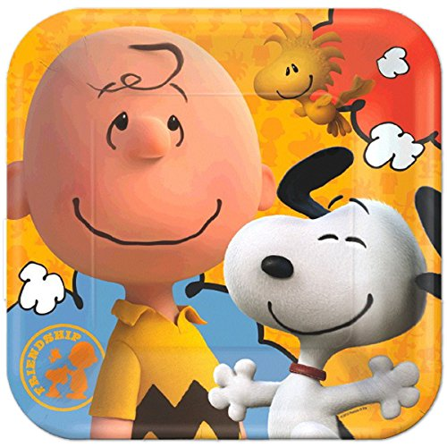 American Greetings Peanuts Square Plate (8 Count), (Charlie Brown Character Costume Ideas)