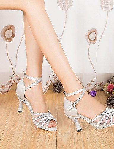 ShangYi Chaussures de danse(Noir / Blanc) -Personnalisables-Talon Aiguille-Satin-Latine / Moderne White 5ScBbxMW