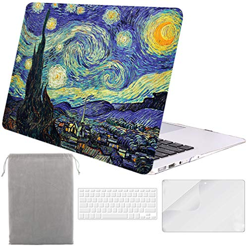 Sykiila for MacBook Air 13 Inch Case (for 2010-2017 Old Version,Model:A1369 / A1466) Hard Cover 4 in 1 Folio Case + HD Screen Protector + TPU Keyboard Cover + Sleeve - Starry Night
