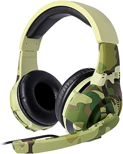 Amazon Com Luonita Computer Gaming Headset With Microphone Tc A4 Headset Camouflage Computer Game Headset Mobile Phone Headset Earphone Headset For Men Sports Outdoors