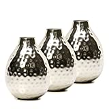Hosley's Set of 3 Silver Color Metal Bud Floral