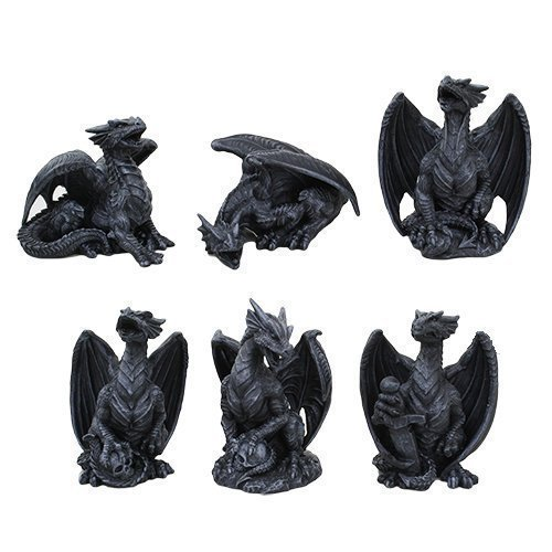 4 Inch Miniature Gargoyle Dragons Statue Figurines, Set of Six