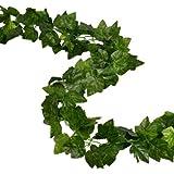 RURALITY 16 Ft -2 Artificial Ivy Silk Fake Vines Hanging Wedding Garland ,Grape Leaves,Pack of 2