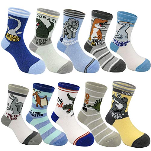 Toddler Kids Little Boys Fashion Cotton Crew Socks 10 Pack (4-7 Year Old, Dinosaur) ()